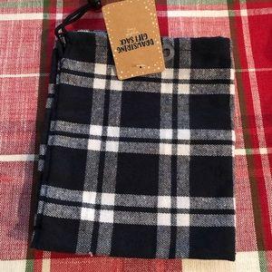 Drawstring NWT cotton gift bag in blue plaid